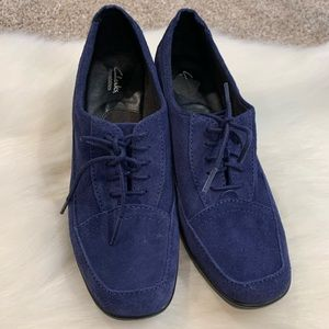 Clarks Blue Suede Shoes Size 8W